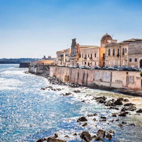 landscape of Siracusa village, sicily. Italy.